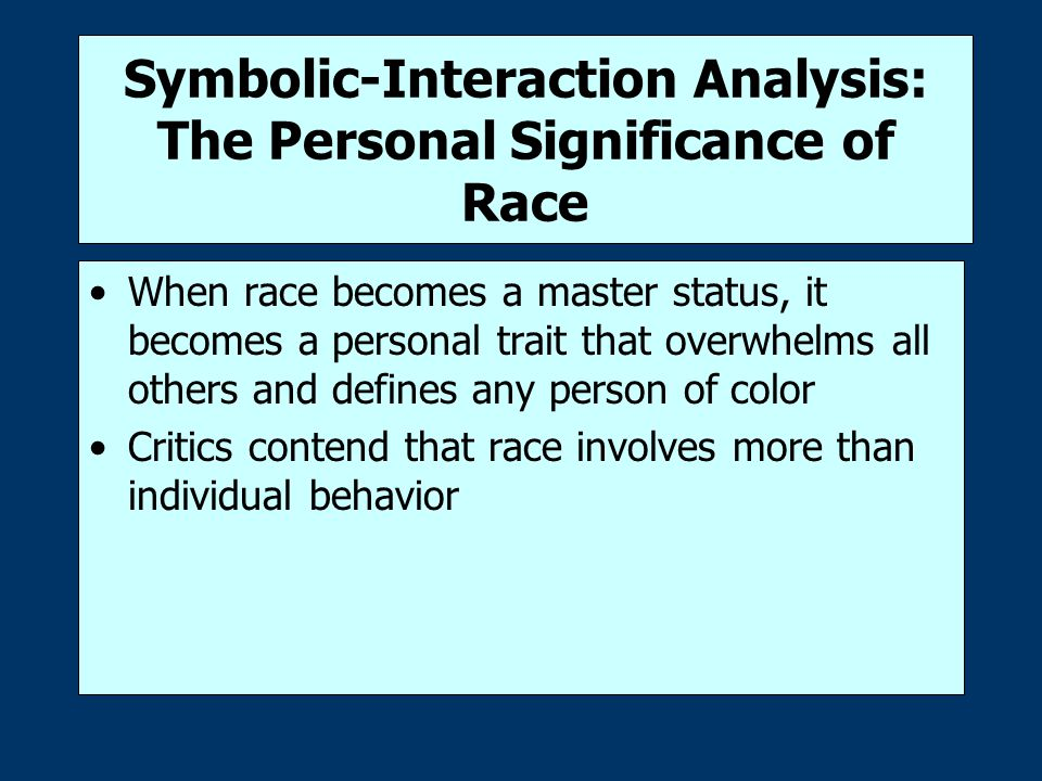 Symbolic-Interaction Analysis: The Personal Significance of Race