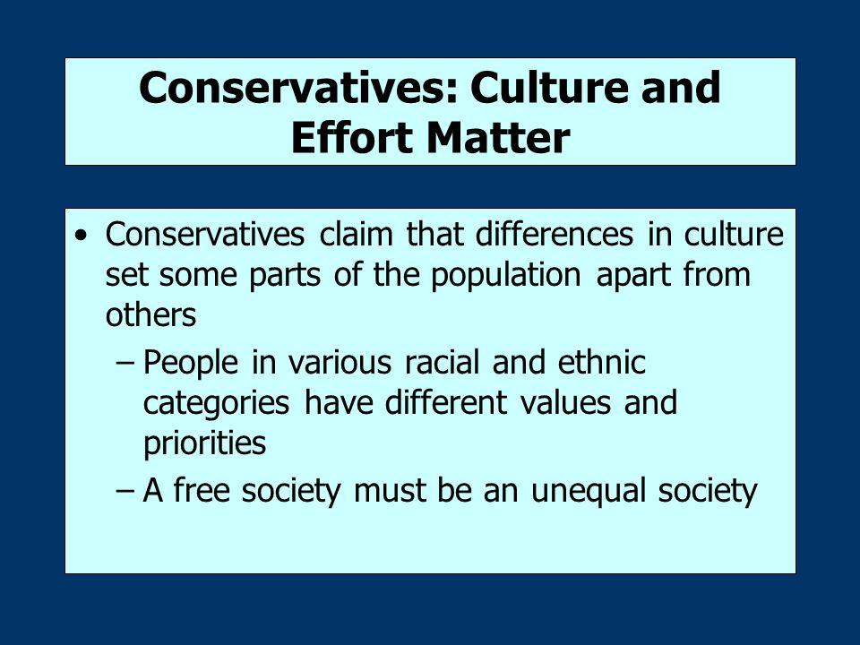 Conservatives: Culture and Effort Matter