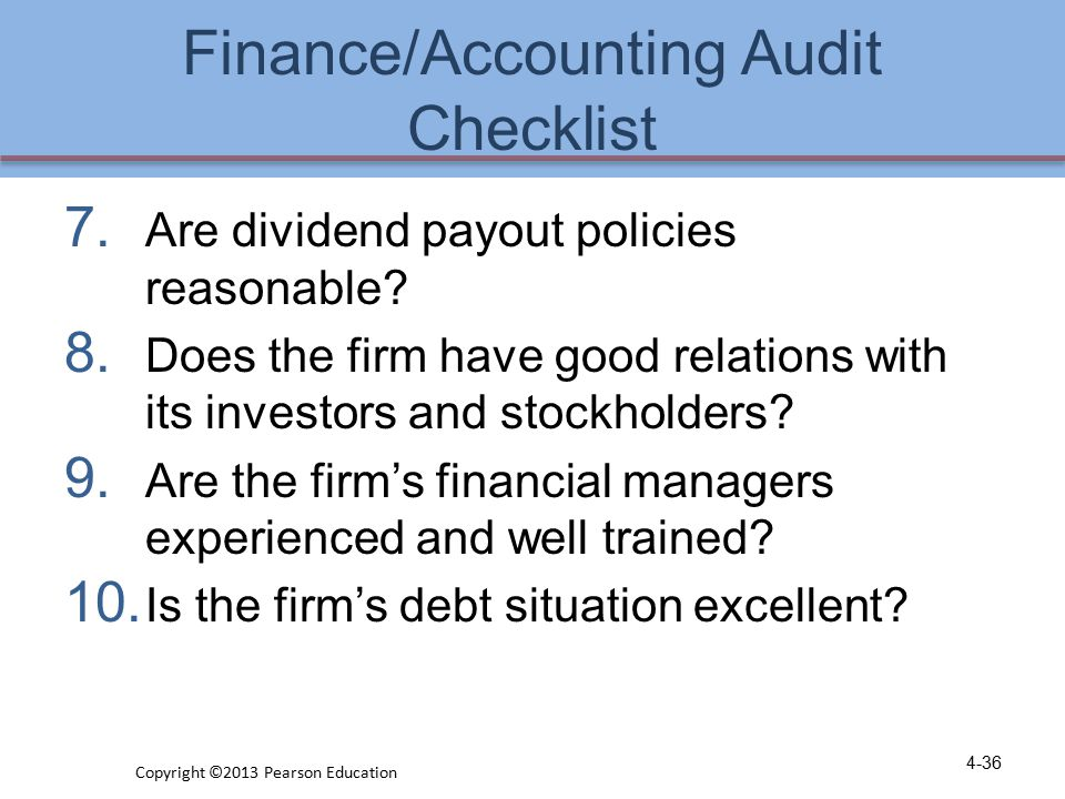 Finance/Accounting Audit Checklist