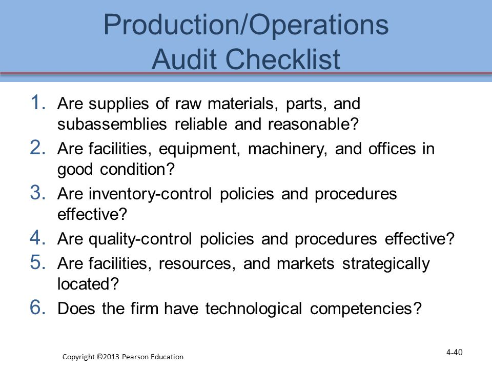 Production/Operations Audit Checklist