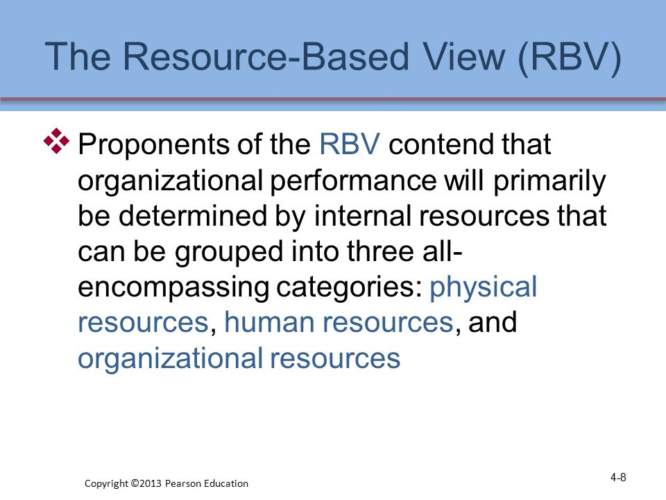 The Resource-Based View (RBV)
