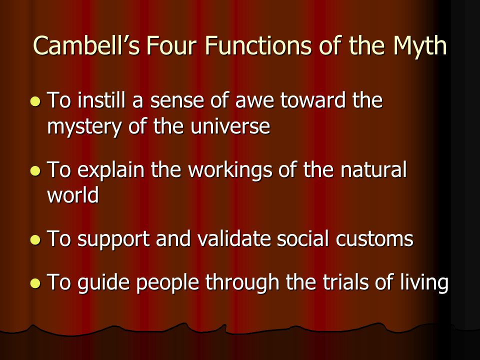 Cambell's Four Functions of the Myth