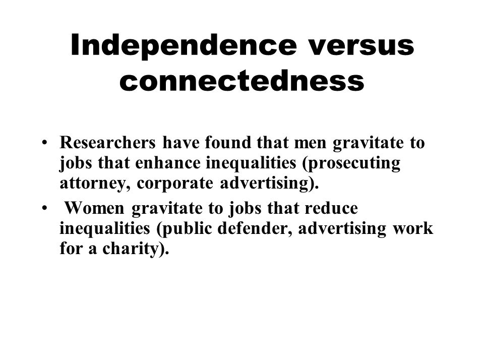 Independence versus connectedness