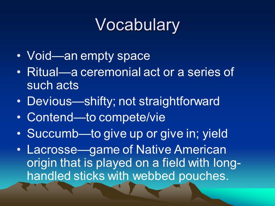 Vocabulary Void—an empty space