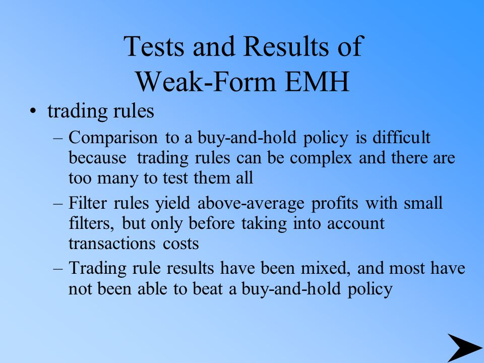 Tests and Results of Weak-Form EMH