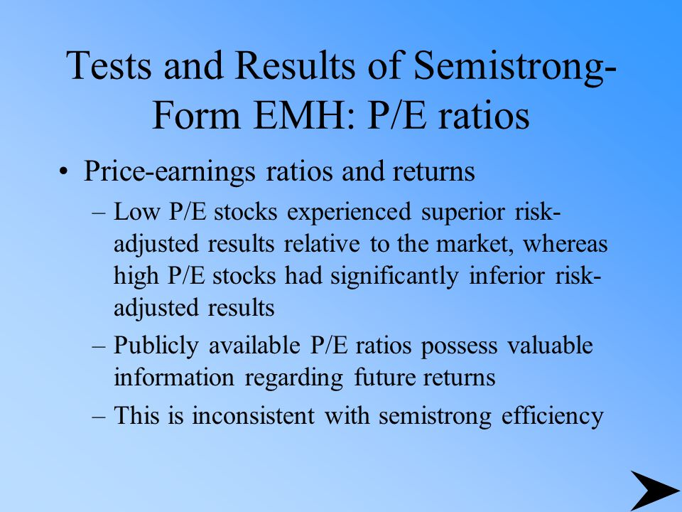 Tests and Results of Semistrong-Form EMH: P/E ratios