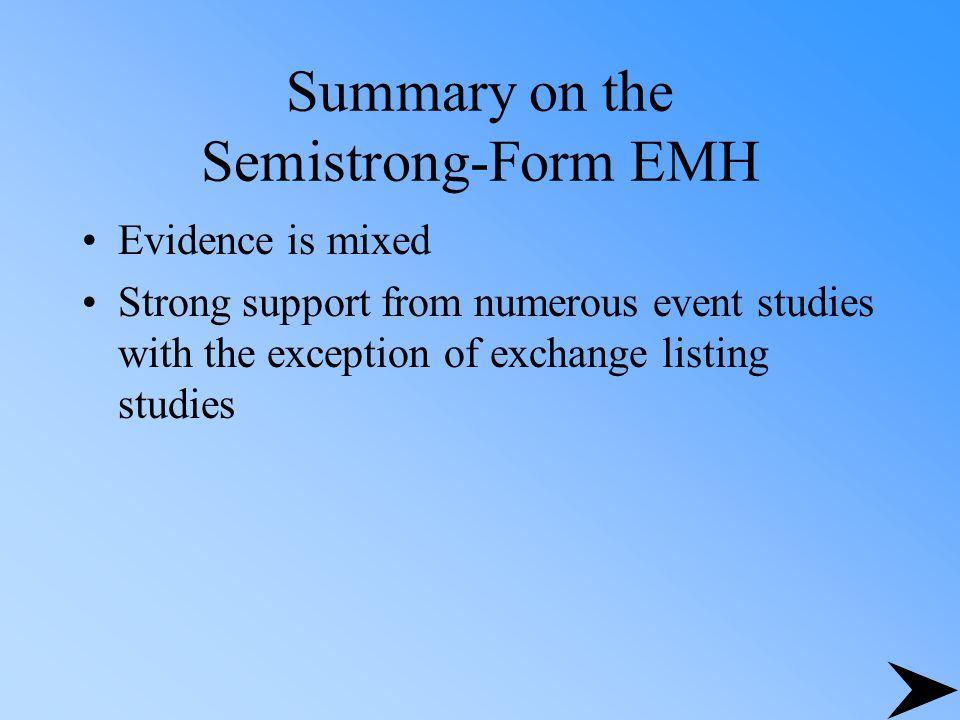 Summary on the Semistrong-Form EMH
