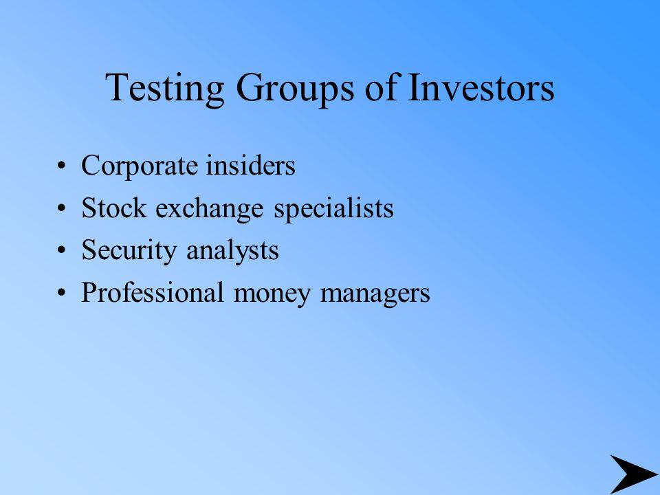 Testing Groups of Investors