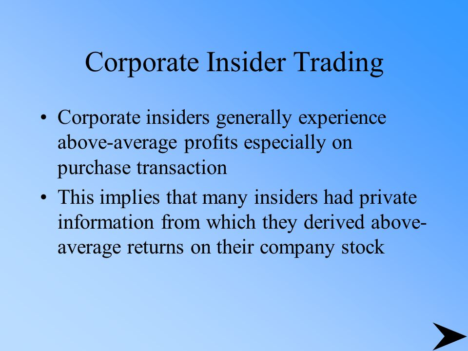 Corporate Insider Trading