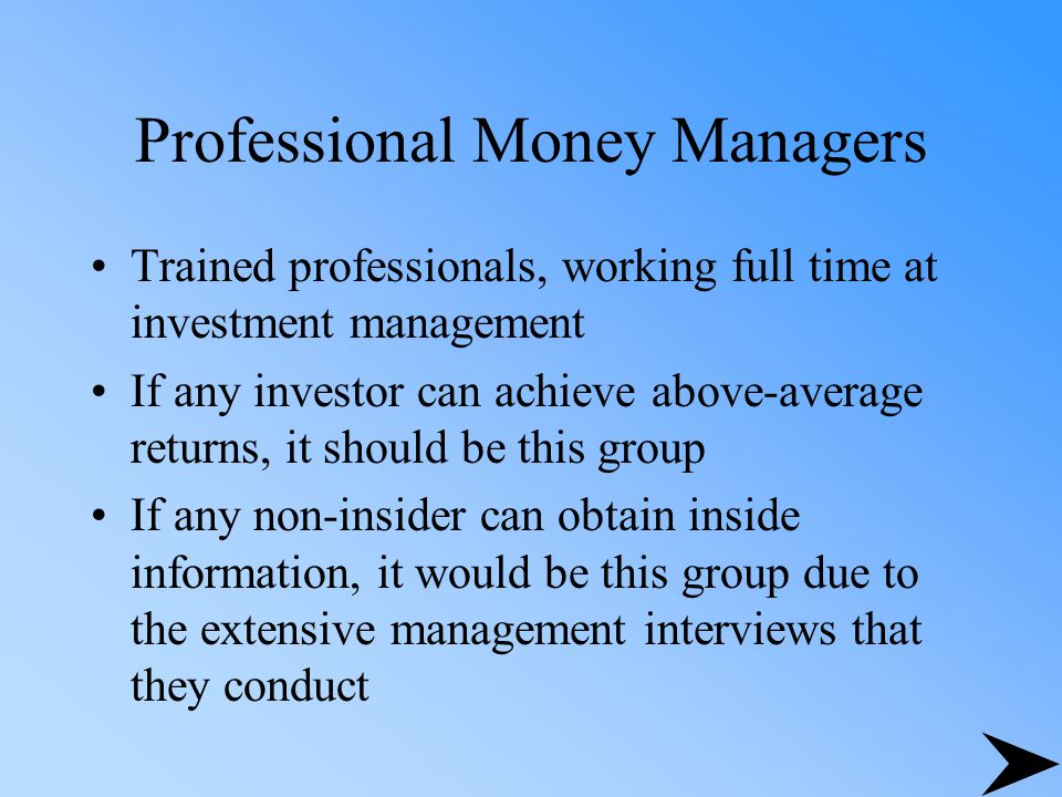 Professional Money Managers