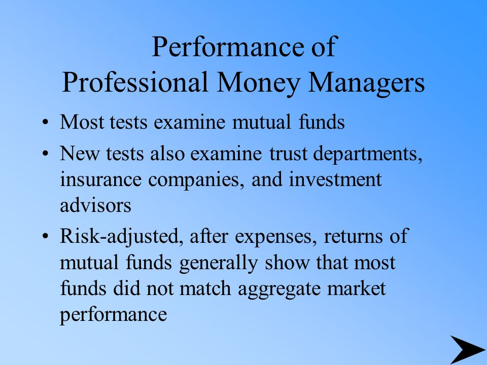 Performance of Professional Money Managers