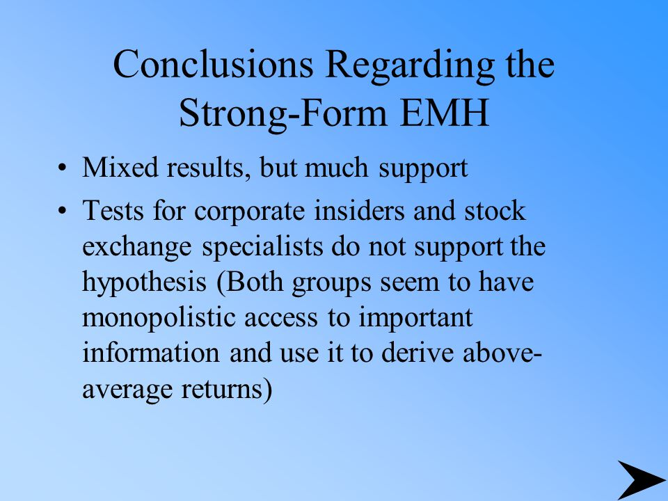 Conclusions Regarding the Strong-Form EMH