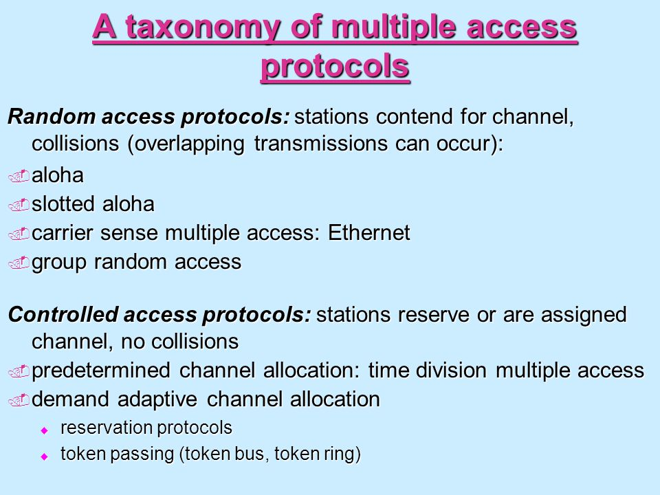 A taxonomy of multiple access protocols