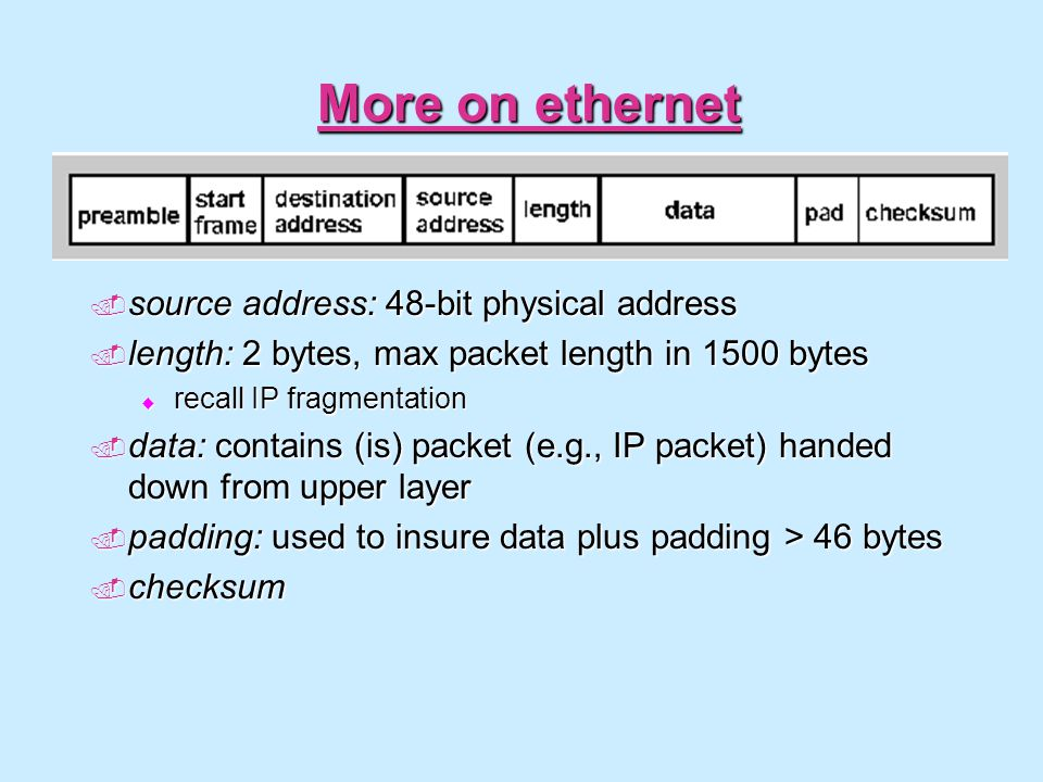 More on ethernet source address: 48-bit physical address