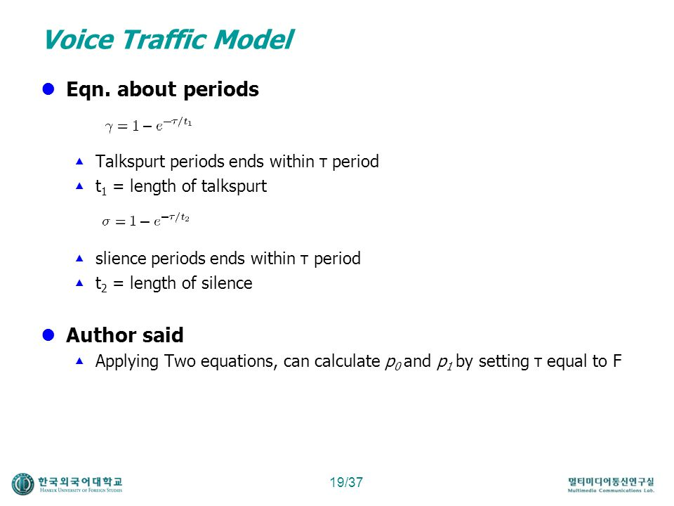 Voice Traffic Model Eqn. about periods Author said