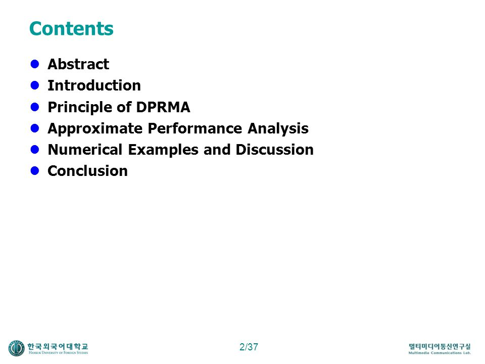 Contents Abstract Introduction Principle of DPRMA