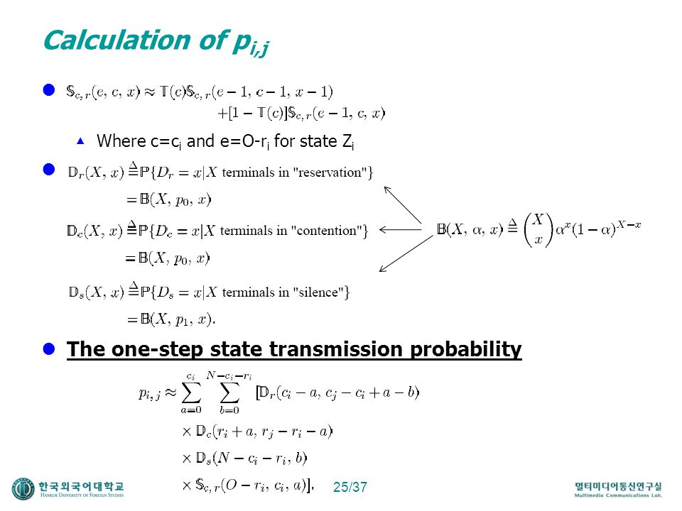 Calculation of pi,j dd d The one-step state transmission probability