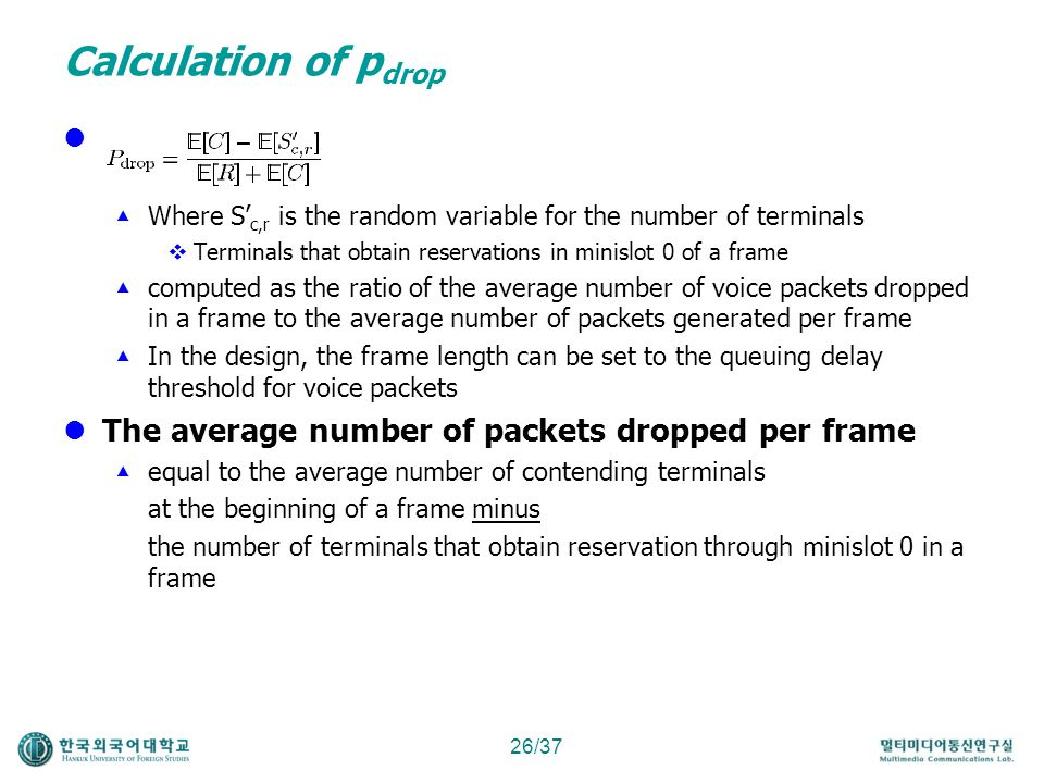 Calculation of pdrop d The average number of packets dropped per frame
