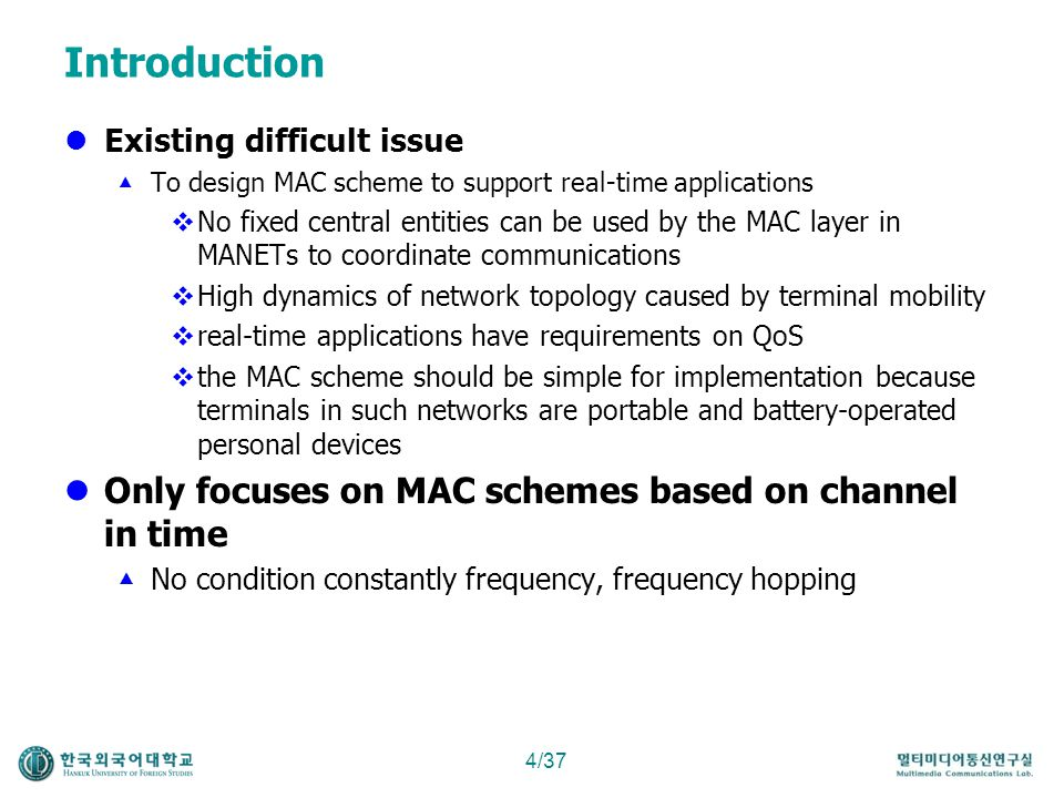 Introduction Only focuses on MAC schemes based on channel in time
