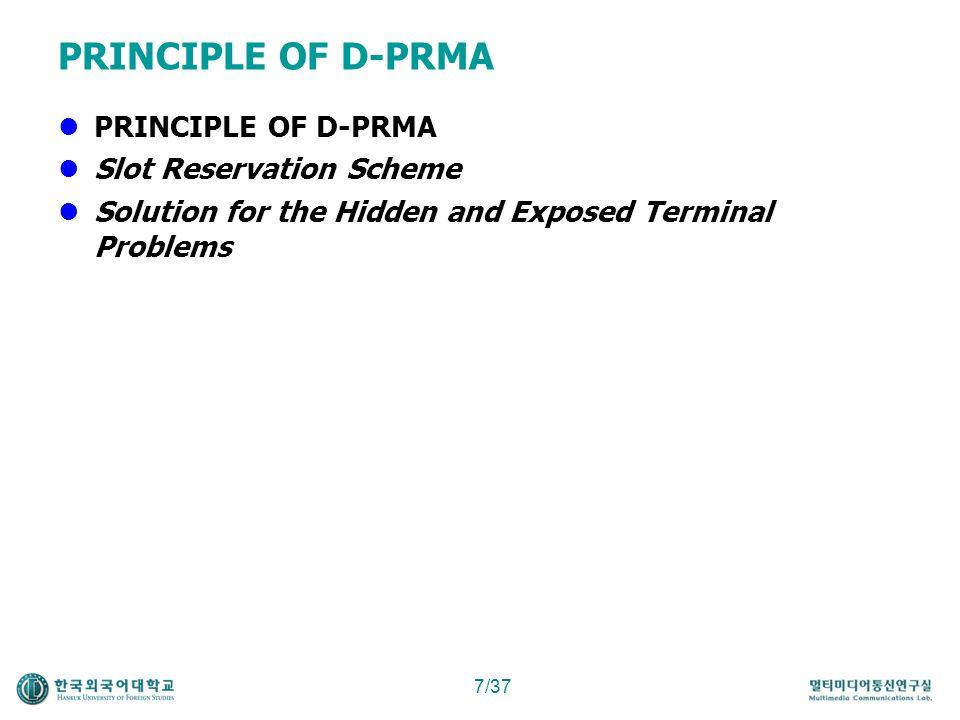 PRINCIPLE OF D-PRMA PRINCIPLE OF D-PRMA Slot Reservation Scheme