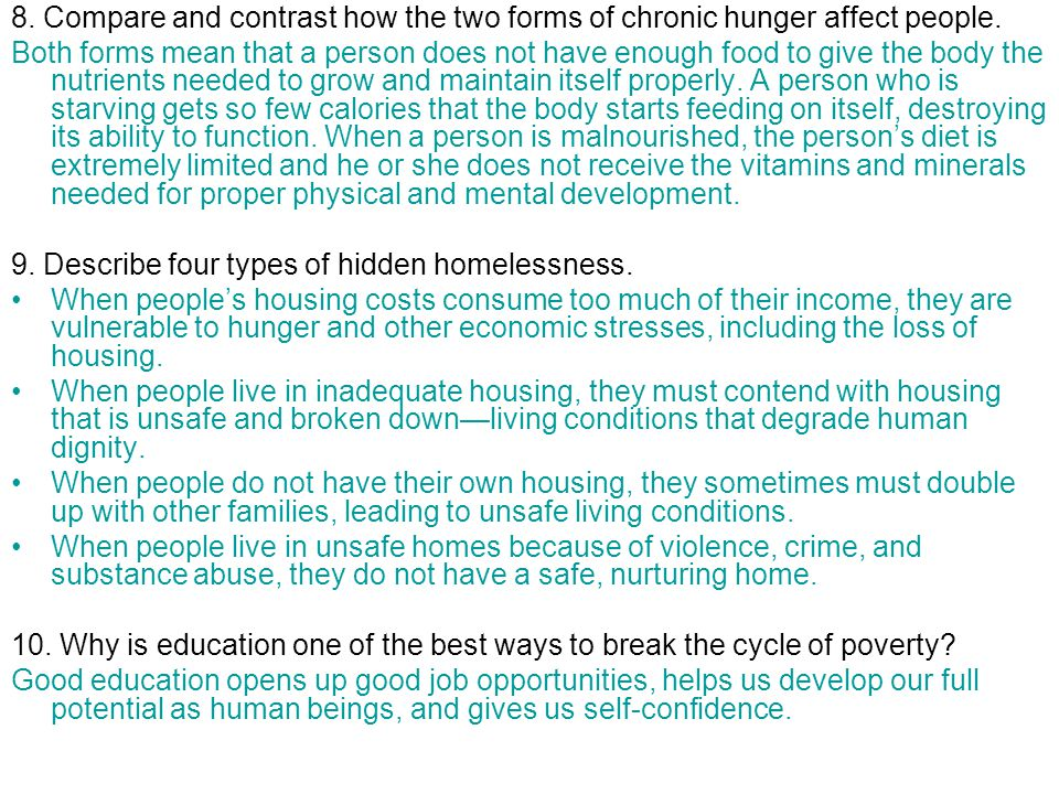 8. Compare and contrast how the two forms of chronic hunger affect people.