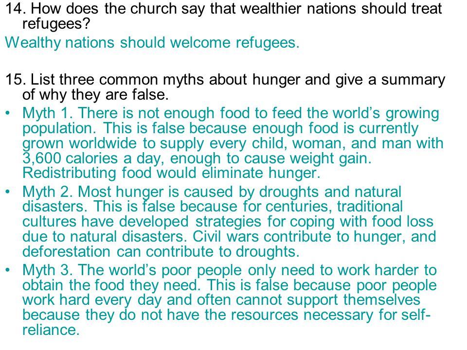 14. How does the church say that wealthier nations should treat refugees