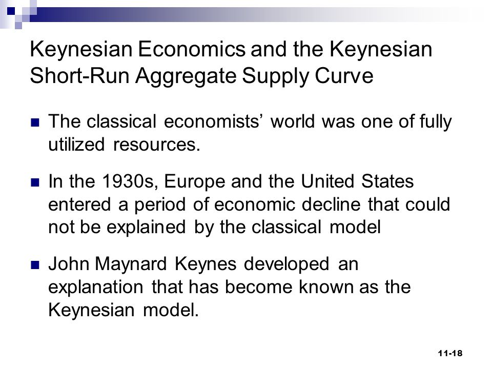 Keynesian Economics and the Keynesian Short-Run Aggregate Supply Curve