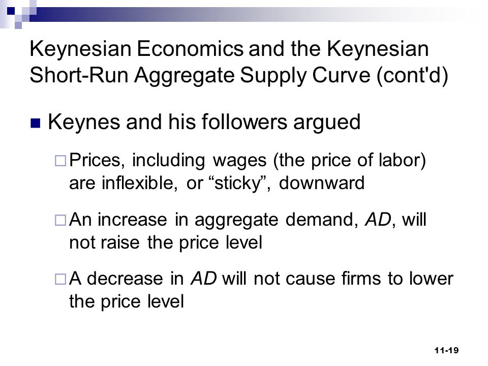 Keynes and his followers argued