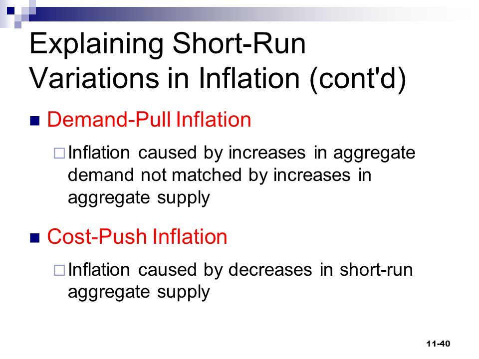 Explaining Short-Run Variations in Inflation (cont d)