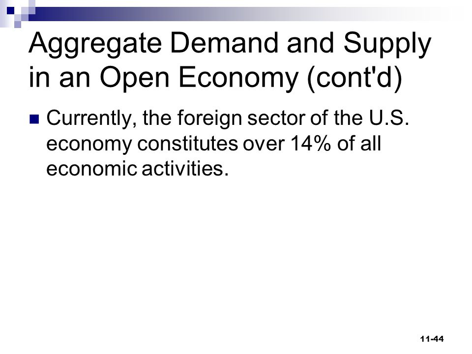 Aggregate Demand and Supply in an Open Economy (cont d)