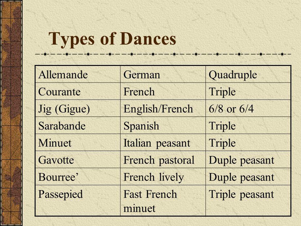Types of Dances Allemande German Quadruple Courante French Triple