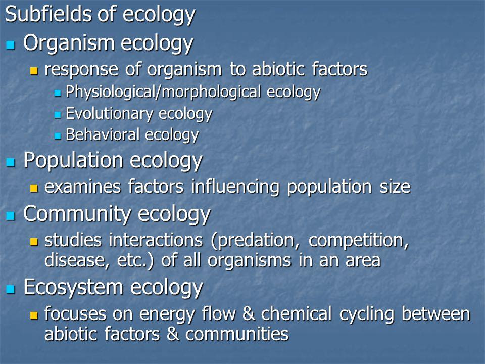 Subfields of ecology Organism ecology Population ecology