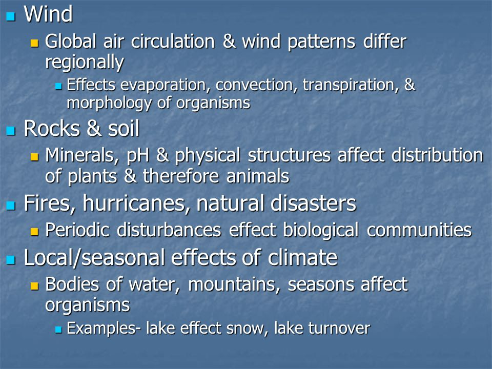 Fires, hurricanes, natural disasters Local/seasonal effects of climate
