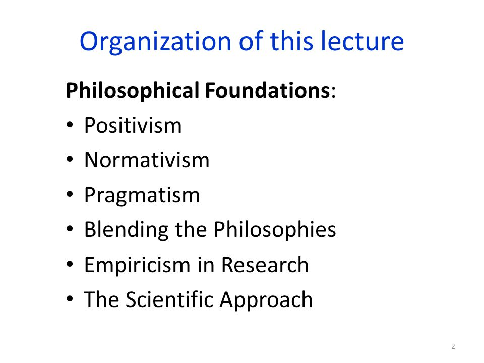 Organization of this lecture