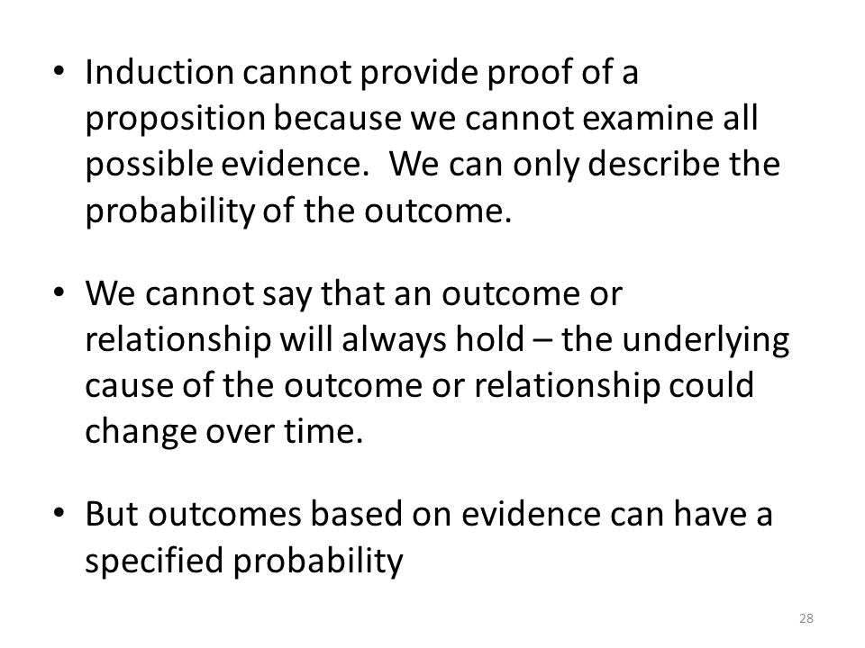 Induction cannot provide proof of a proposition because we cannot examine all possible evidence. We can only describe the probability of the outcome.