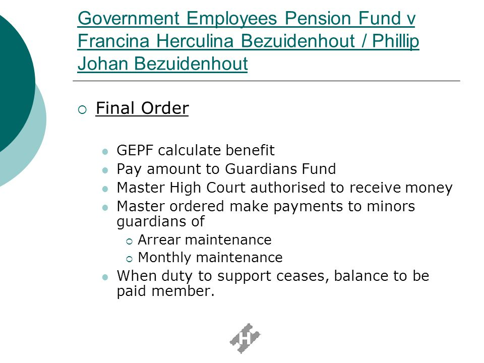 Government Employees Pension Fund v Francina Herculina Bezuidenhout / Phillip Johan Bezuidenhout