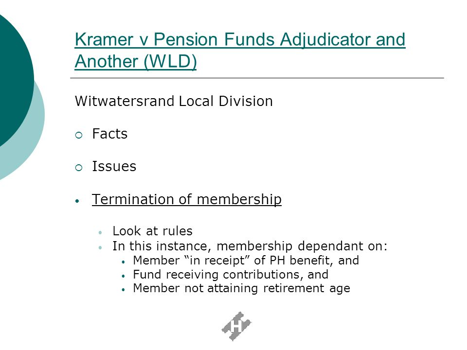 Kramer v Pension Funds Adjudicator and Another (WLD)