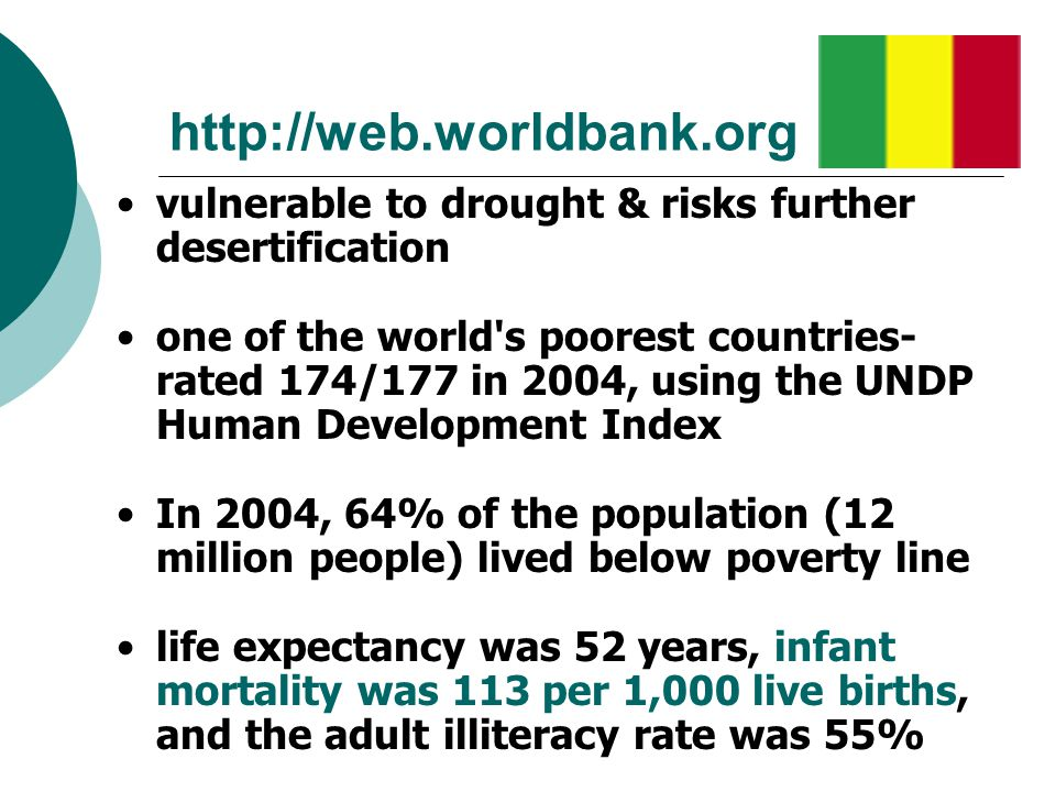 http://web.worldbank.org vulnerable to drought & risks further desertification.
