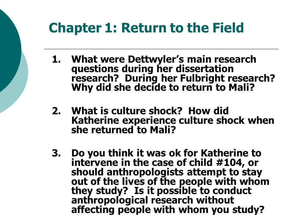 Chapter 1: Return to the Field