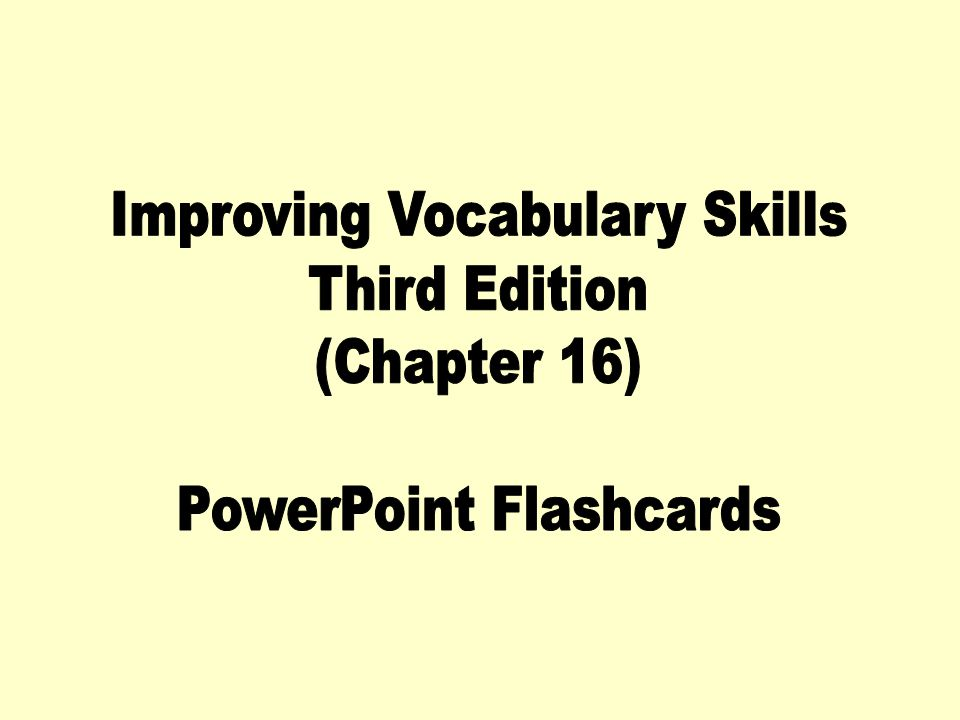 Improving Vocabulary Skills Third Edition (Chapter 16)