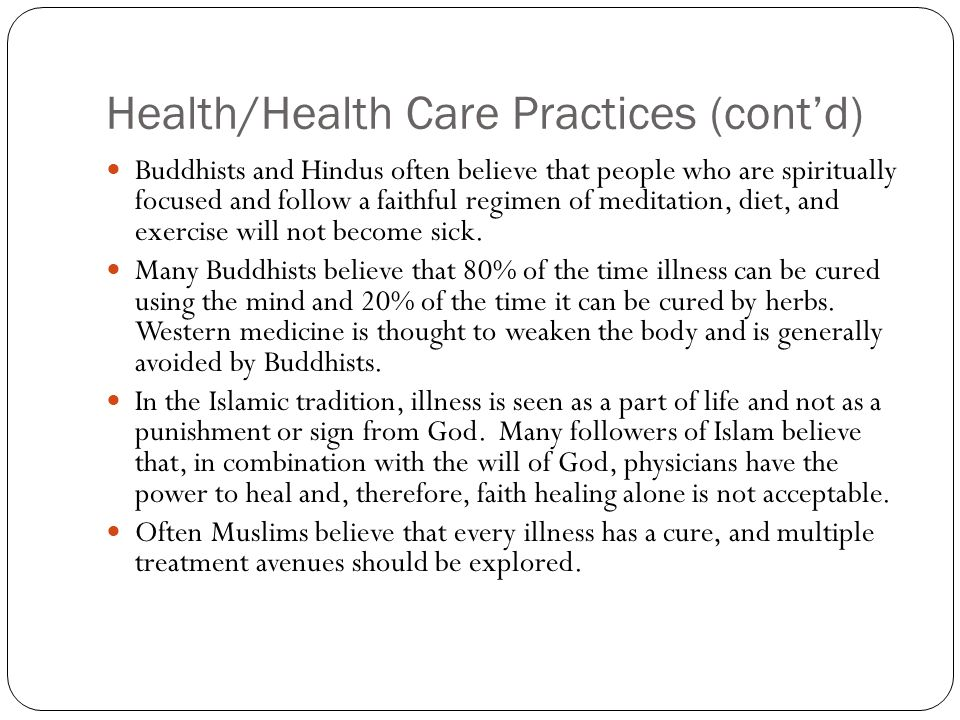 Health/Health Care Practices (cont'd)