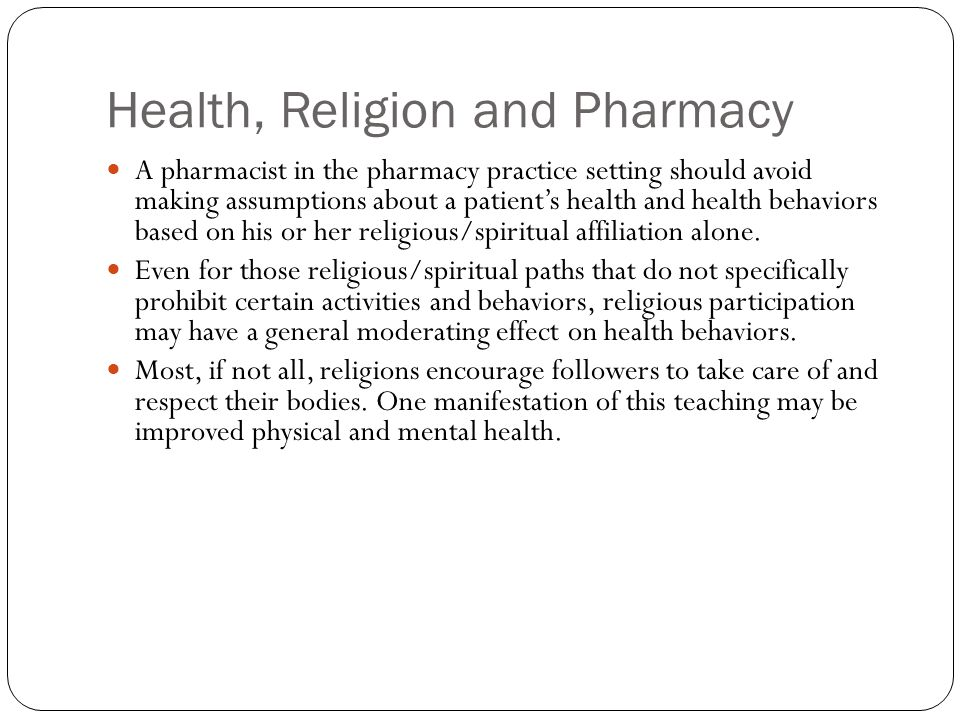 Health, Religion and Pharmacy