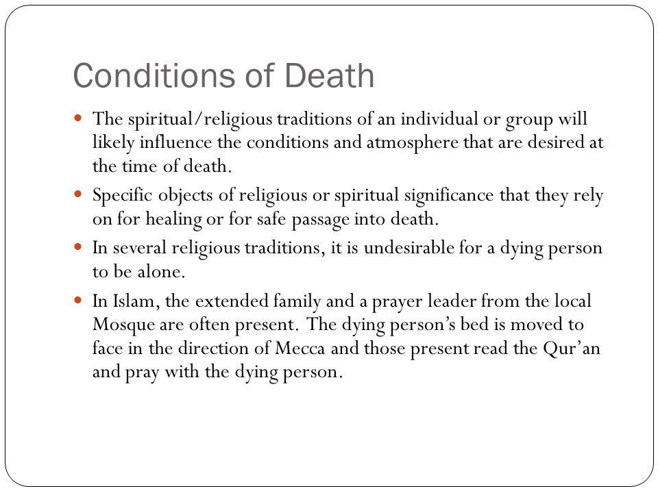 Conditions of Death