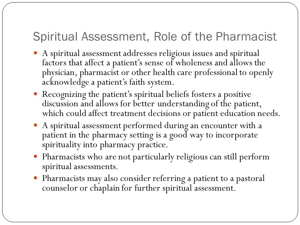 Spiritual Assessment, Role of the Pharmacist
