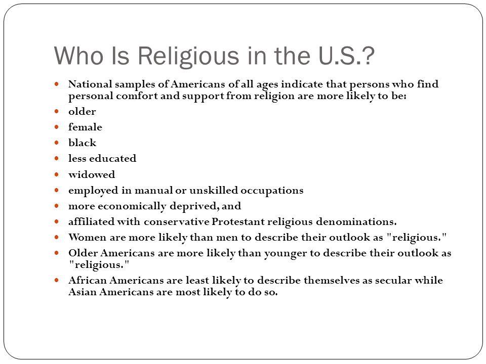 Who Is Religious in the U.S.