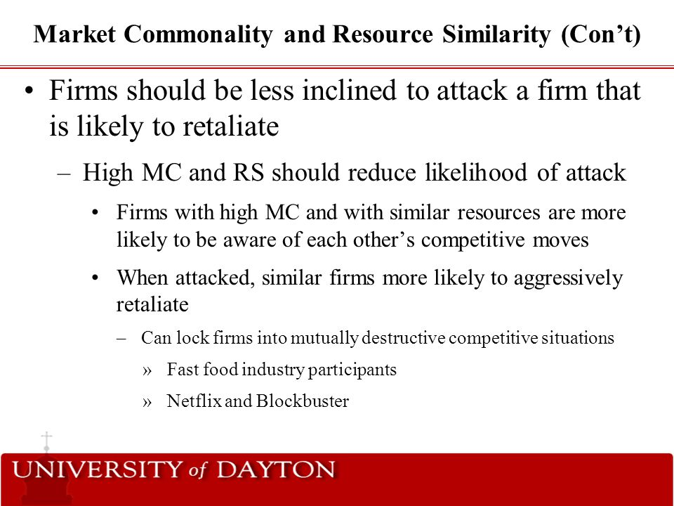Market Commonality and Resource Similarity (Con't)