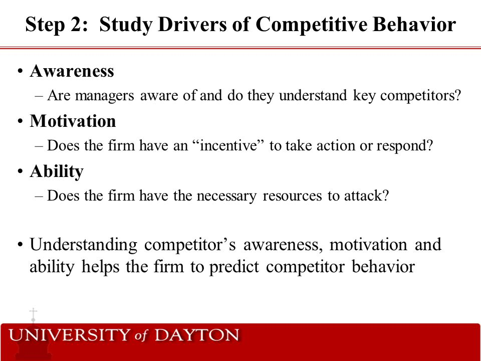 Step 2: Study Drivers of Competitive Behavior