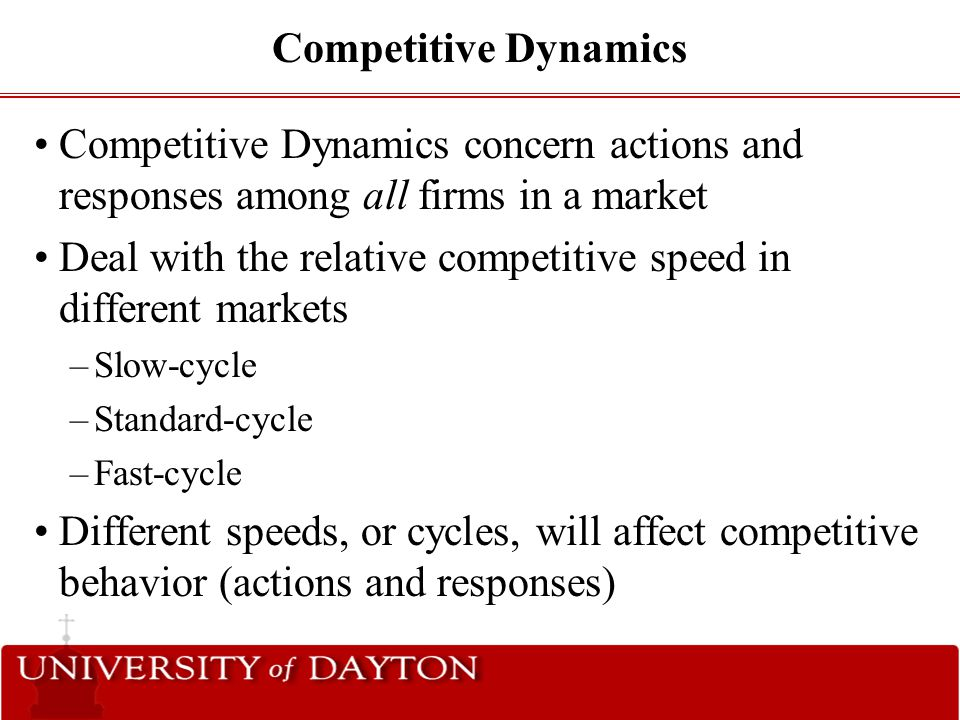 Deal with the relative competitive speed in different markets