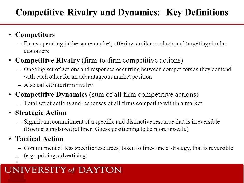 Competitive Rivalry and Dynamics: Key Definitions