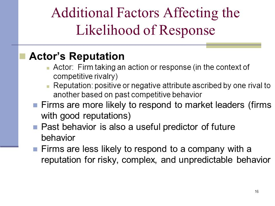 Additional Factors Affecting the Likelihood of Response